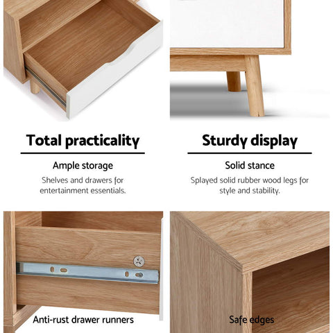 Image of Artiss TV Cabinet Entertainment Unit Stand Wooden Storage 140cm Scandinavian