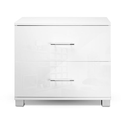 Image of Artiss High Gloss Two Drawers Bedside Table - White