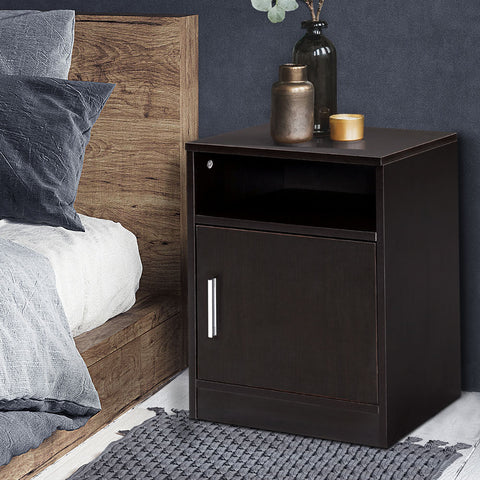 Image of Artiss Bedside Table Cabinet Storage Side Nightstand Lamp Bedroom Chest Unit