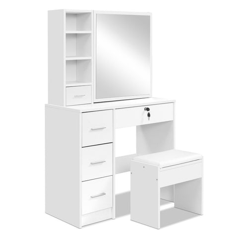 Image of Artiss Dressing Table Stool Mirror Jewellery Cabinet Makeup Storage Drawer White