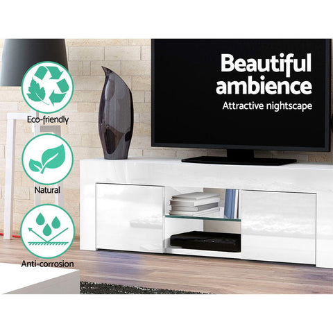 Image of Artiss 130cm High Gloss TV Stand Entertainment Unit Storage Cabinet Tempered Glass Shelf White