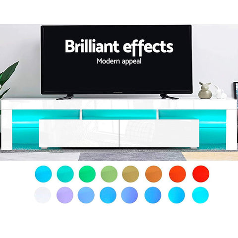 Image of Artiss TV Cabinet Entertainment Unit Stand RGB LED Gloss Furniture 2 Drawers 200cm White