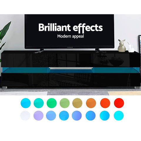 Image of Artiss TV Cabinet Entertainment Unit Stand RGB LED Gloss Furniture 177cm Black