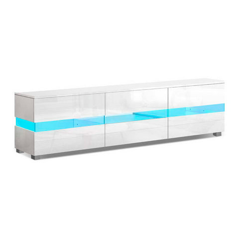 Image of Artiss TV Cabinet Entertainment Unit Stand RGB LED Gloss Furniture 177cm White