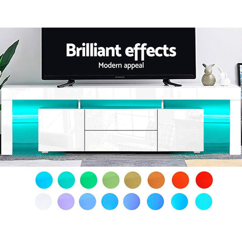 Image of Artiss TV Cabinet Entertainment Unit Stand RGB LED Gloss Furniture 200cm White