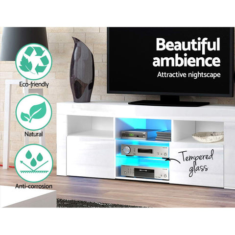 Image of Artiss TV Cabinet Entertainment Unit Stand RGB LED Gloss Furniture 145cm White