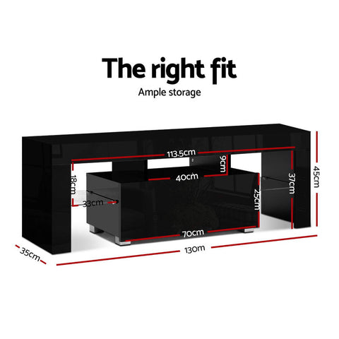 Image of Artiss TV Cabinet Entertainment Unit Stand RGB LED Gloss Furniture 130cm Black