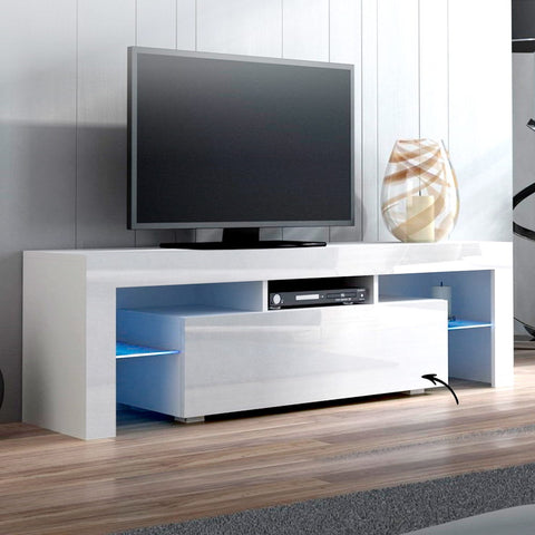Image of Artiss 130cm RGB LED TV Stand Cabinet Entertainment Unit Gloss Furniture Drawer Tempered Glass Shelf White
