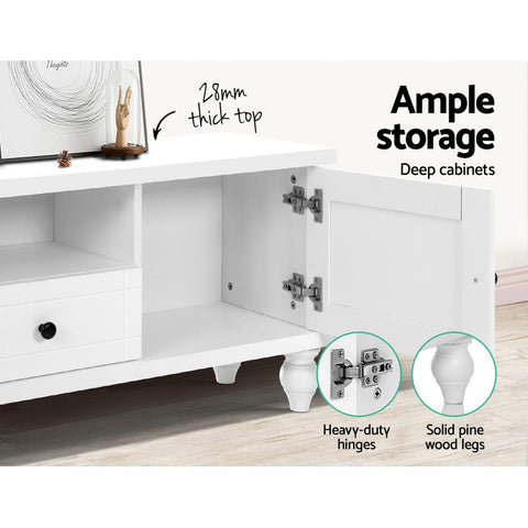Image of Artiss 162cm TV Stand Entertainment Unit French Provincial Storage Cabinet Drawers White