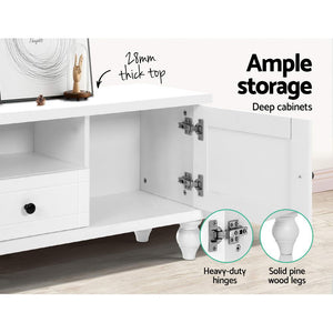 Artiss 162cm TV Stand Entertainment Unit French Provincial Storage Cabinet Drawers White