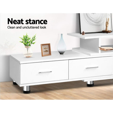 Artiss TV Cabinet Entertainment Unit Stand Wooden 160CM To 220CM Storage White