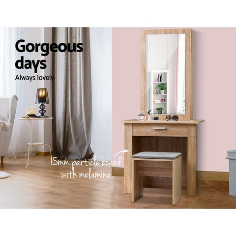 Image of Artiss Dressing Table Mirror Stool Mirror Jewellery Cabinet Makeup Storage Wood