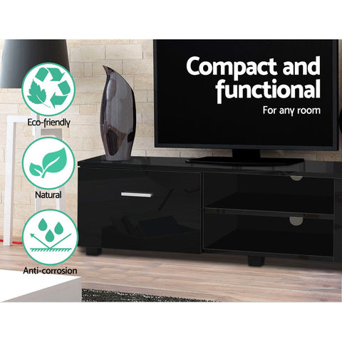 Image of Artiss 140cm High Gloss TV Cabinet Stand Entertainment Unit Storage Shelf Black