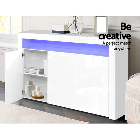 Image of Artiss Buffet Sideboard Cabinet Storage LED High Gloss Cupboard 3 Doors White