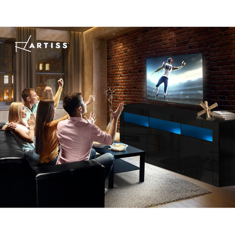 Image of Artiss TV Cabinet Entertainment Unit Stand RGB LED Gloss Drawers 160cm Black
