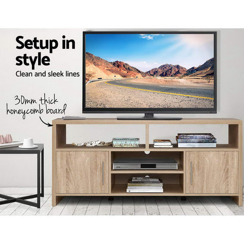 Image of Artiss TV Cabinet Entertainment Unit Stand Storage Shelf Sideboard 140cm Oak