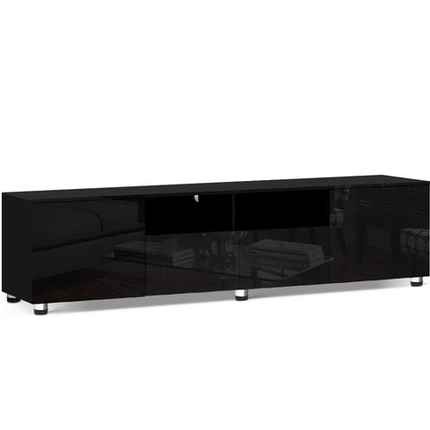 Image of Artiss TV Cabinet Entertainment Unit Stand High Gloss Furniture 205cm Black