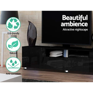 Artiss TV Cabinet Entertainment Unit Stand High Gloss Furniture 205cm Black