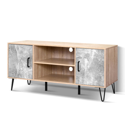 Image of Artiss TV Cabinet Entertainment Unit Stand Industrial Wooden Metal Legs Oak