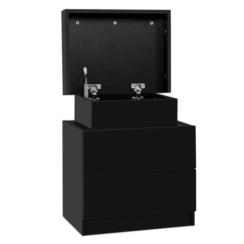 Image of Artiss Bedside Tables 2 Drawers Side Table Storage Nightstand Black Bedroom Wood