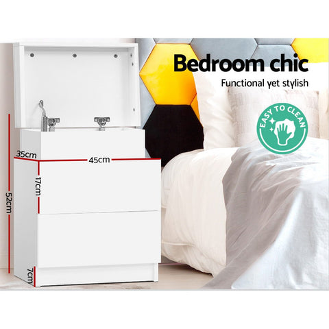 Image of Artiss Bedside Tables 2 Drawers Side Table Storage Nightstand White Bedroom Wood
