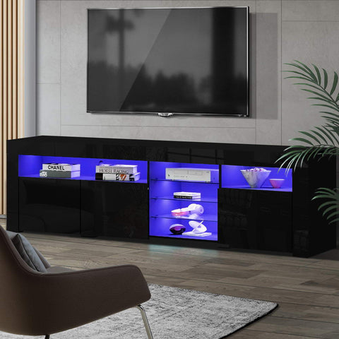 Image of Artiss TV Cabinet Entertainment Unit Stand RGB LED Gloss 3 Doors 180cm Black