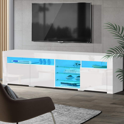 Artiss TV Cabinet Entertainment Unit Stand RGB LED Gloss 3 Doors 180cm White