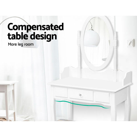 Image of Dressing Table Stool Mirror Jewellery Cabinet Tables Drawer White Box Organizer