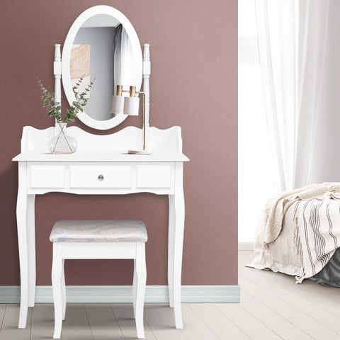 Dressing Table Stool Mirror Jewellery Cabinet Tables Drawer White Box Organizer