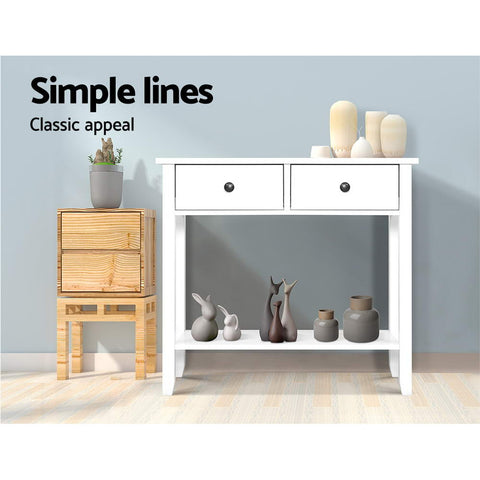 Image of Hallway Console Table Hall Side Entry 2 Drawers Display White Desk Furniture