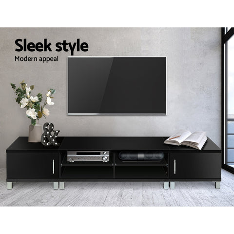 Image of Artiss Entertainment Unit with Cabinets - Black
