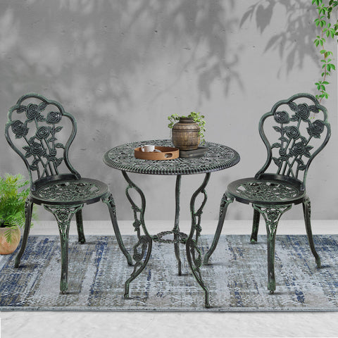 Image of Gardeon Outdoor Furniture Chairs Table 3pc Aluminium Bistro Green