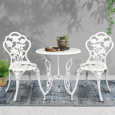 Image of Gardeon Outdoor Furniture Chairs Table 3pc Aluminium Bistro White