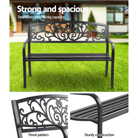 Image of Garden Bench Seat Outdoor Chair Steel Iron Patio Furniture Lounge Porch Lounger Vintage Black Gardeon