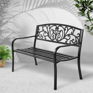 Garden Bench Seat Outdoor Chair Steel Iron Patio Furniture Lounge Porch Lounger Vintage Black Gardeon