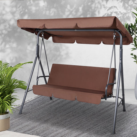 Image of Gardeon 3 Seater Outdoor Canopy Swing Chair - Coffee