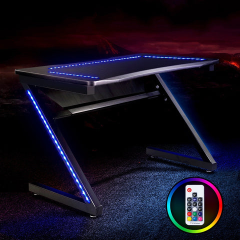 Image of Artiss Gaming Desk Home Office Computer Carbon Fiber Style LED Racer Table