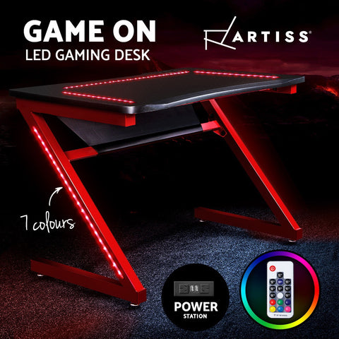 Image of Artiss Gaming Desk Study Computer Desktop Carbon Fiber Style LED RGB Racer Table