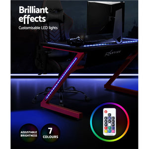 Artiss Gaming Desk Study Computer Desktop Carbon Fiber Style LED RGB Racer Table