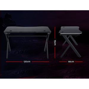 Artiss Gaming Desk Home Office Computer Carbon Fiber Style LED Racer Table Black