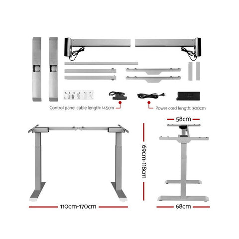 Image of Artiss Standing Desk Motorised Electric Height Adjustable Laptop Computer Table Riser 120cm Dual Motor