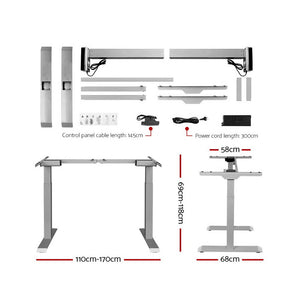 Artiss Sit Stand Standing Desk Motorised Electric Adjustable Laptop Computer Table Dual Motors 140cm