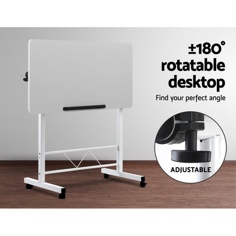 Image of Portable Mobile Laptop Desk Notebook Computer Height Adjustable Table Sit Stand Study Office Work White