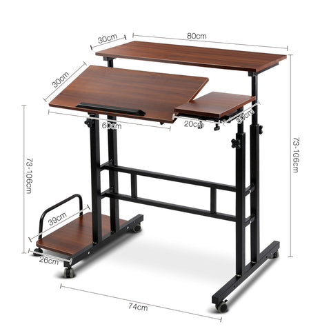 Image of Mobile Twin Laptop Desk - Dark Wood