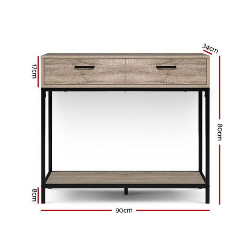 Image of Artiss Hallway Console Table Hall Side Entry Display Desk Drawer Storage Oak