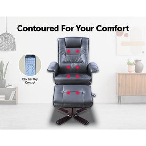 Massage Chair Recliner Ottoman Lounge Remote PU Leather - Black