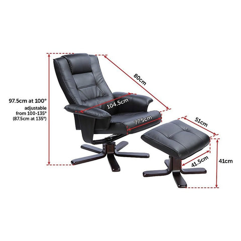 Image of Massage Chair Recliner Ottoman Lounge Remote PU Leather - Black