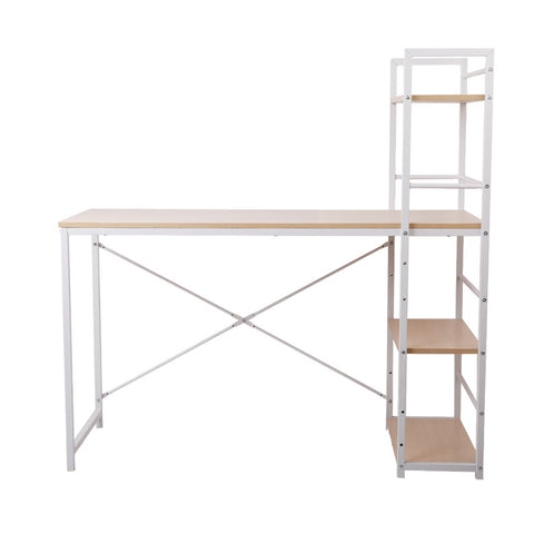 Image of Artiss Metal Desk with Shelves - White with Oak Top