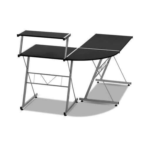 Image of Artiss Corner Metal Pull Out Table Desk - Black