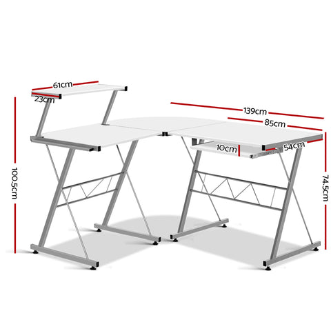 Image of Artiss Corner Metal Pull Out Table Desk - White